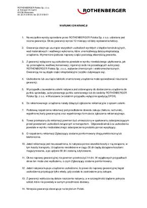 Warunki gwarancji firmy Rothenberger